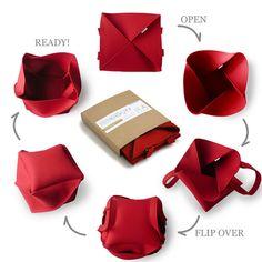 Red Folding Bag / Large Industrial Felt Bag / by aikafeltworks