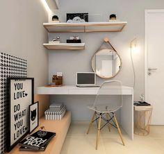 Trendy home office quarto feminino simples Ideas Home Room Design, Home Office Design, Home Office Decor, Small Room Bedroom, Bedroom Decor, Bedroom Furniture, Dorm Room, Master Bedroom, Study Room Decor