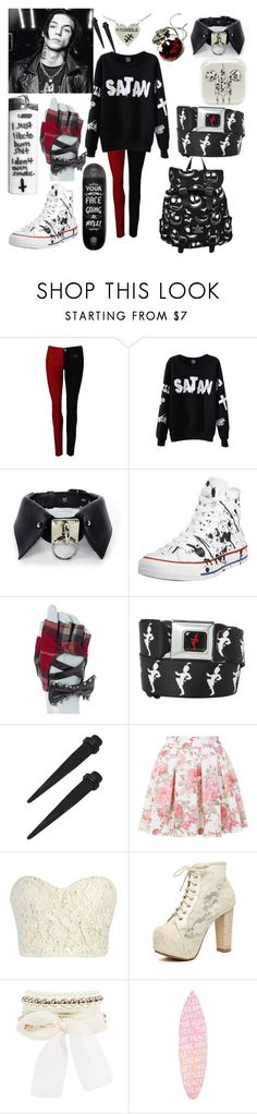 """Untitled #357"" by briana-is-hungry ❤ liked on Polyvore featuring WithChic, Converse, Hot Topic, claire's, Miss Selfridge and PBteen"