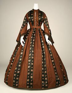 Brown and printed black striped silk dress, American, ca. 1860.