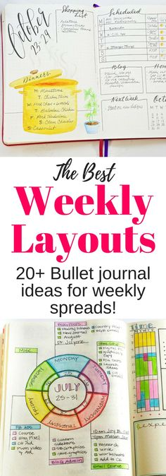 Over 20 Easy Bullet Journal Weekly Spread Ideas! - Home Decor Bullet Journal Monthly Spread, Bullet Journal Printables, Bullet Journal How To Start A, Bullet Journal Layout, Bullet Journal Inspiration, Journal Ideas, Bullet Journals, Diffusion, Bullet Journal Junkies