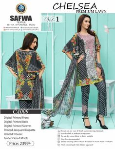 Safwa Brand - Price PKR2399.00 only - Free Delivery! - Cash on Delivery - 30 Days Returns - CA-009 - CHELSEA COLLECTION - 3 PIECE SUIT  #onlineshopping #shalwarkameez #brand #ladiesclothing #shoponline #clothing #pakistani #dresses #safwa #digital