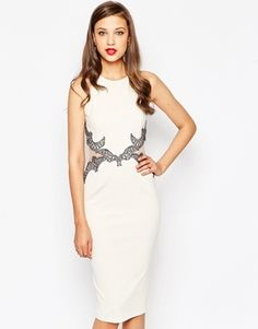 Little Mistress Tall Bodycon Dress With Baroque Lace Cut Out