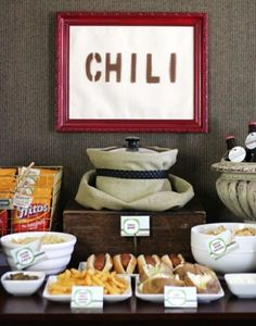 Chilli Buffet-just pic , idea for Super Bowl/ football party ---  GENIUS!