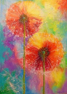 Dandelions - Olha Darchuk. Cool colorful Dandelion painting.