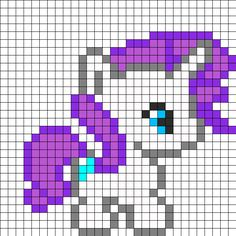 Baby_Rarity by Beave on Kandi Patterns Melty Bead Patterns, Kandi Patterns, Hama Beads Patterns, Beading Patterns, Modern Cross Stitch, Cross Stitch Designs, Cross Stitch Patterns, Modele Pixel Art, Pixel Drawing