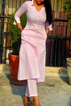Buy Baby Pink Dobby Kurti with Baby Pink Cotton Silk Pants Kurti Set by Colorauction - Online shopping for Kurtis in India Kurti Sleeves Design, Kurta Neck Design, Sleeves Designs For Dresses, Dress Neck Designs, Fancy Blouse Designs, Dresses For Women, Churidhar Neck Designs, Plain Kurti Designs, Silk Kurti Designs