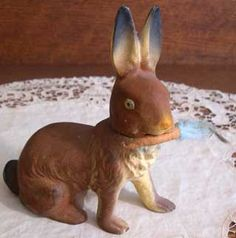 Antique Easter Bunny Rabbit Candy Container with Cotton Carrot & Glass Eyes OLD!