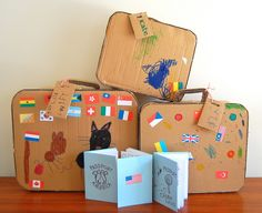 Check out this DIY cardboard suitcase post! What a great decoration idea for the travel theme classroom! Cardboard Suitcase, Cardboard Toys, Cardboard Furniture, Cardboard Playhouse, Cardboard Design, Diy For Kids, Crafts For Kids, Diy Crafts, Recycled Crafts