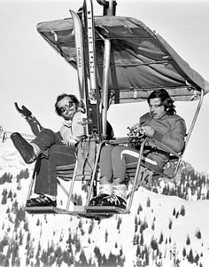 Jack Nicholson and Roman Polanski vacationing in the Swiss Alps, 1975.