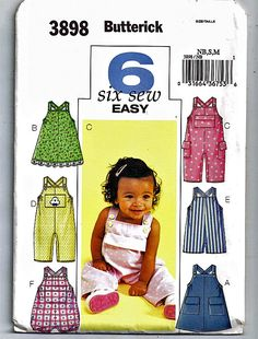 Infants' Jumper, Overalls and Romper  / Original Butterick Uncut Sewing Pattern 3898 by grammysyarngarden on Etsy