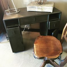 Mid Century Modern Desk. See what a little paint will do! #cececaldwell Vermont Slate! Awesome color! https://instagram.com/p/-ReIk7rG7N/
