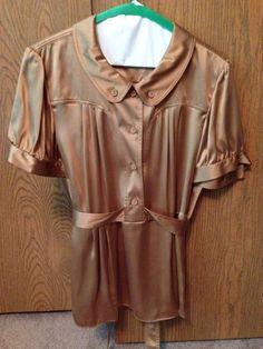 Moda International Retro Silk Blouse Size Large #ModaInternational #Blouse