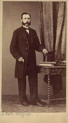 Martí, J.: caballero con bastón, CDV 1870. Hesperus´ Collection
