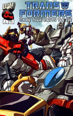 Transformers MTMTE Cover page featuring Superion, Blitzwing, Bruticus, Astrotrain, Broadside, & Bumblebee (Note: This cover was done by Don Figueroa)