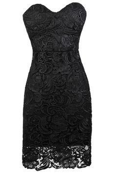 Strapless Bodycon Black Lace Dress with Sweetheart Neckline