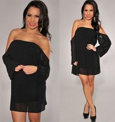 Black Chiffon Off Shoulder Shift Dress Long Sleeve Loose Flowy Boho Classic NWT #365chic #Shift #Formal