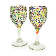 Confetti Recycled Wine Glass - Set of 2, reg. $20,  handblown recycled glass, made in Mexico