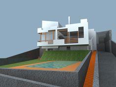 Ideas de #Exterior, estilo #Moderno color  #Marron,  #Blanco,  #Gris, diseñado por Ferran Leal Permisain  #CajonDeIdeas