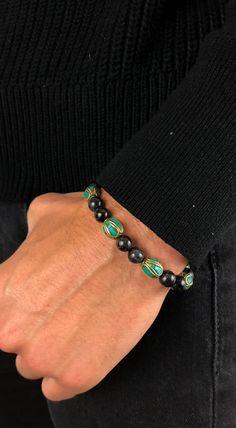 Blue Tiger's Eye and Tibetan beads bracelet.