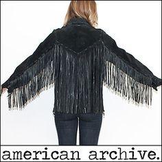 vtg-70s-SOUTHWESTERN-Fringe-draped-Hippie-Leather-biker-rocker-boho-Coat-Jacket