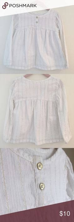 Oshkosh Genuine Gold Thread Blouse Genuine kids for Oshkosh blouse in white with Gold thread detailing. Button closure. Cotton blend. Fully lined. Gently worn. Excellent condition. Osh Kosh Shirts & Tops Blouses