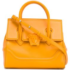 Versace Palazzo Empire shoulder bag (8 235 PLN) ❤ liked on Polyvore featuring bags, handbags, shoulder bags, yellow, handbags totes, orange tote bag, leather handbags, genuine leather tote and yellow tote