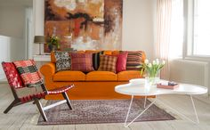 Ektorp, 3 Seater sofa cover Loose Fit Ready for Autumn. Ektorp 3 seater sofa cover in Mandarin Orang Buy Pillows, Cushions On Sofa, Couch, Living Room Styles, Living Room Decor, Living Rooms, Orange Sofa, Kids Sofa, Colorful Throw Pillows