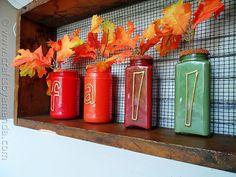 Paint Coated Jar Vases for Fall - CraftsbyAmanda.com