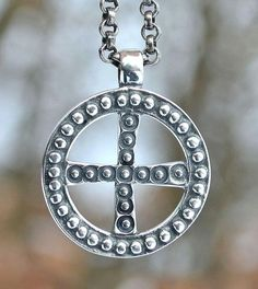 Pagan Silver Slavic Sun Symbol Pendant Necklace Early Medieval Jewelry Jewellery Jewelry Slavonic Moravia Magna Museum Replica