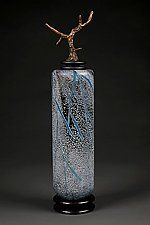 Grana Mali Plavo: Blue Tall Cylinder by Eric Bladholm (Art Glass Vessel)