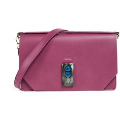 Furla Snap Small Shoulder Bag (18.090 RUB) ❤ liked on Polyvore featuring bags, handbags, shoulder bags, amerena, purple purse, purple leather purse, genuine leather purse, shoulder strap handbags and purple handbags