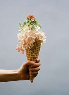 unique spin on a bridesmaid bouquet? - let there be ice cream cones!! -  Because every picnic needs a few blooms | Kinfolk Magazine Vol. #7