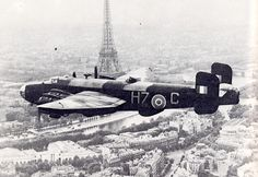 """british-eevee: """"Handley Page Halifax bomber in flight over Paris """" Ww2 Aircraft, Military Aircraft, Handley Page Halifax, Airplane Fighter, Ww2 Planes, Vintage Airplanes, Royal Air Force, World War Two, Wwii"""