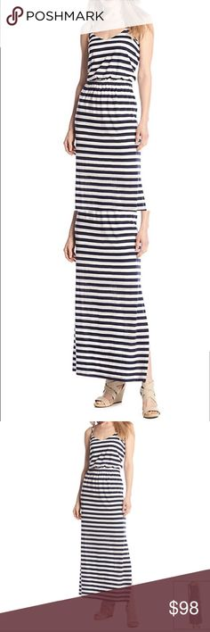 COMING SOON - Blue/White Striped Maxi Dress Featured in navy and white Scoopneck  Spaghetti strap  Pullover design  Open knit stripe pattern  Cinched waist band  Maxi length  Machine wash cold, air dry  Polyester / rayon / cotton  Imported Chelsea & Theodore Dresses Maxi