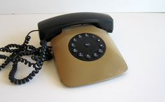 Vintage Phone 80s Grand Prix Tan olive Brown telephone Photo Prop Fathers Day Gift. $16.80, via Etsy.
