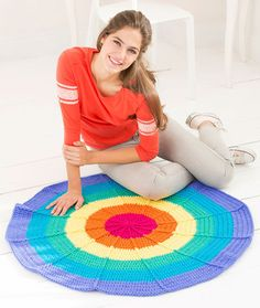 Rainbow Rug Free Crochet Pattern in Red Heart Yarns