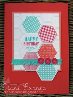 Stampin Up Six Sided Sampler hexagon & Label Love quick & easy birthday card by Di Barnes #stampinup #colourmehappy