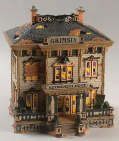 department 56 snow village halloween grimsly retirement home with box