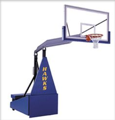 """The Hurricane competition style portable basketball goal is designed for fieldhouse, gymnasium and upper-end recreational or church use. The unit comes equipped with First Team's top of the line FT235 Unbreakable 42""""x72"""" competition tempered glass backboard, FT196 Full-Tilt™ 180° breakaway goal.  Rim height adjustments from 10' down to 6' are made easily with its """"Spring-Aided"""" design from DunRite Playgrounds. http://www.dunriteplaygrounds.com"""