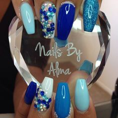 Blue skittle coffin nails-love the colors French Nails Glitter, Fancy Nails, Bling Nails, Fabulous Nails, Gorgeous Nails, Hot Nails, Hair And Nails, Nagel Bling, Sculptured Nails