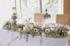 マイレポ花嫁さんから見つけた♡オシャレすぎる高砂装花10選 Wedding Styles, Table Decorations, Bride, Green, Party, Flowers, Home Decor, Wedding Bride, Fiesta Party