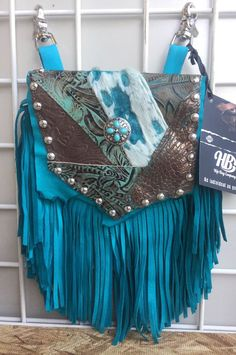 Hip Bag Company Turquoise Western Leather Fringe Small Purse Bling Crystals | eBay