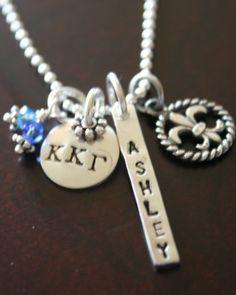Greek Letters/PC, Sorority color beads, name/pledge name, mascot   http://www.kandsimpressions.com/greek-designs/greek-avery-triple-the-fun