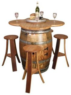 Wine Barrel Project Table and Stool