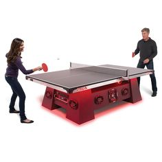 The World's Loudest Table Tennis Table - Hammacher Schlemmer Best Ping Pong Table, Beer Pong Tables, Mini Beer Pong, Table Tennis Equipment, Ping Pong Paddles, Hammacher Schlemmer, Color Changing Lights, Audio System, Speaker System