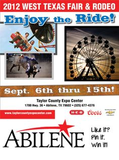 9.West Texas Fair and Rodeo: The West Texas Fair and Rodeo is an Abilene staple! Repin for a Season Pass for the entire week, a $70 value: gate admission, carnival rides and admission to PRCA rodeo events. Get your Texas on and find adventure at the WTFR! Isn't Abilene very, very Pinterest-ing?  Re-pin to win!