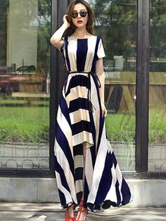 Womens Sexy Stripe Stitching Short Sleeve Slim Full Length Bohemia Style Dress E Party Wear Dresses, Women's Dresses, Party Dress, Maxi Dress Wedding, Dress Prom, Steps Dresses, Maxi Outfits, Bodycon Dress With Sleeves, Going Out Dresses