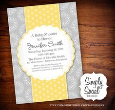 Polka Dot Baby Shower Invitation Grey and by SimplySocialDesigns, $18.00