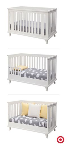 The versatile 3-in-1 Ava crib from Delta Children is three pieces of furniture in one. It transitions with your growing child from a crib that's ready for Baby's nursery to a toddler bed or a daybed. In white, it has contemporary style and a clean look that fits in anywhere.